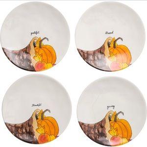 """Rae Dunn THANKSGIVING dinner plate set 11"""" new!"""